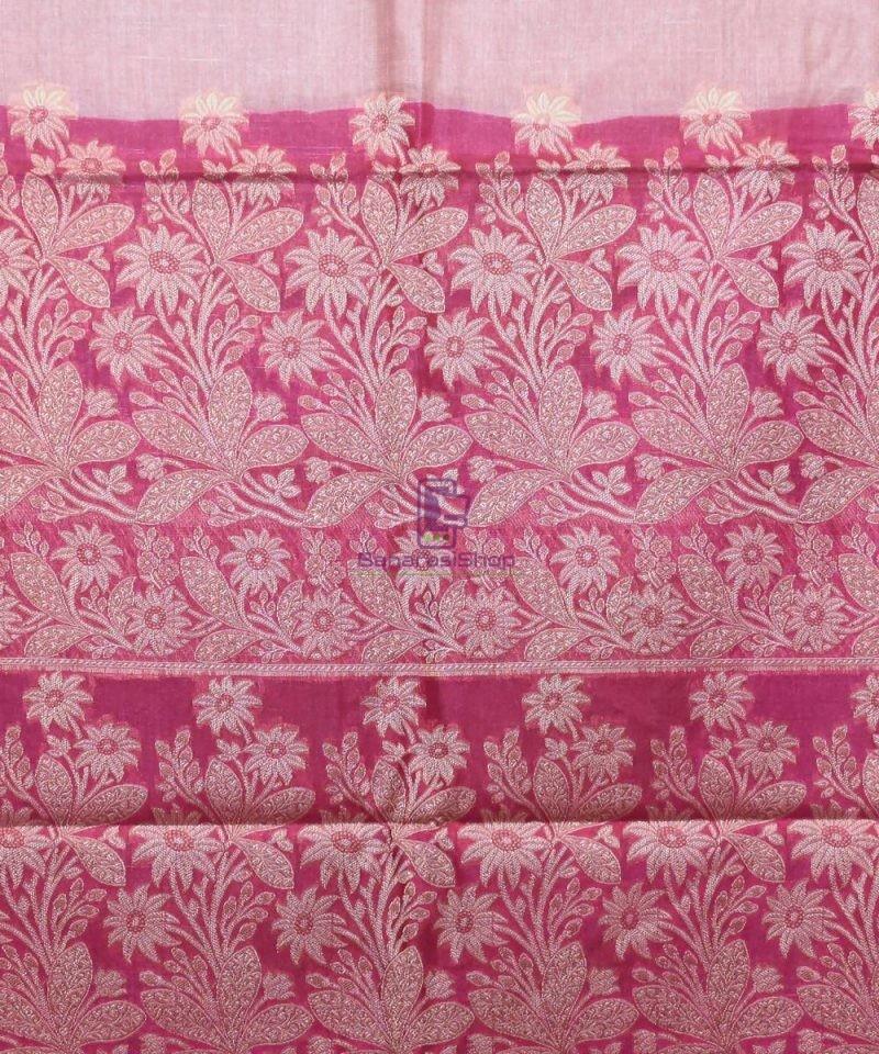 Woven Pure Tussar Silk Banarasi Saree in Rose Pink 4