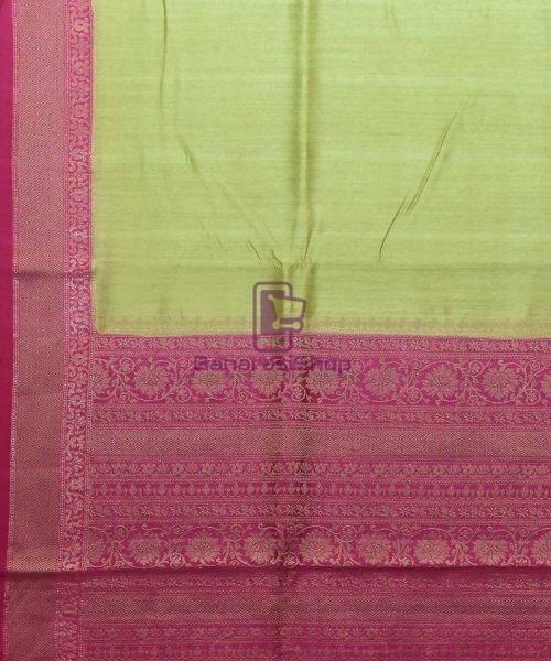 Woven Pure Muga Silk Banarasi Saree in Pear Green 5