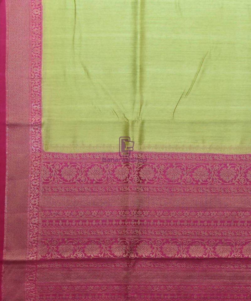 Woven Pure Muga Silk Banarasi Saree in Pear Green 2