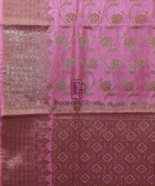 Woven Pure Tussar Silk Banarasi Saree in Taffy Pink 5