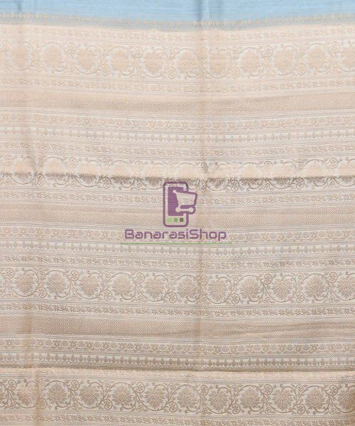 Woven Pure Muga Silk Banarasi Saree in Stone Blue 6