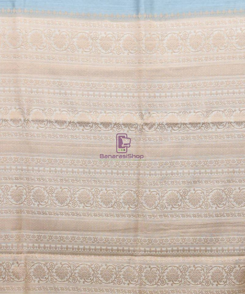 Woven Pure Muga Silk Banarasi Saree in Stone Blue 3