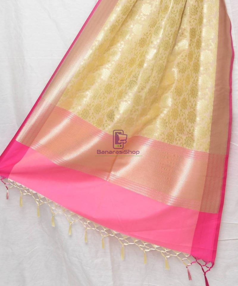 Woven Banarasi Art Silk Dupatta in Cream 1