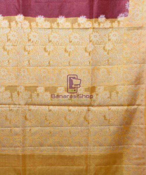 Woven Pure Tussar Silk Banarasi Saree in Plum Purple 6