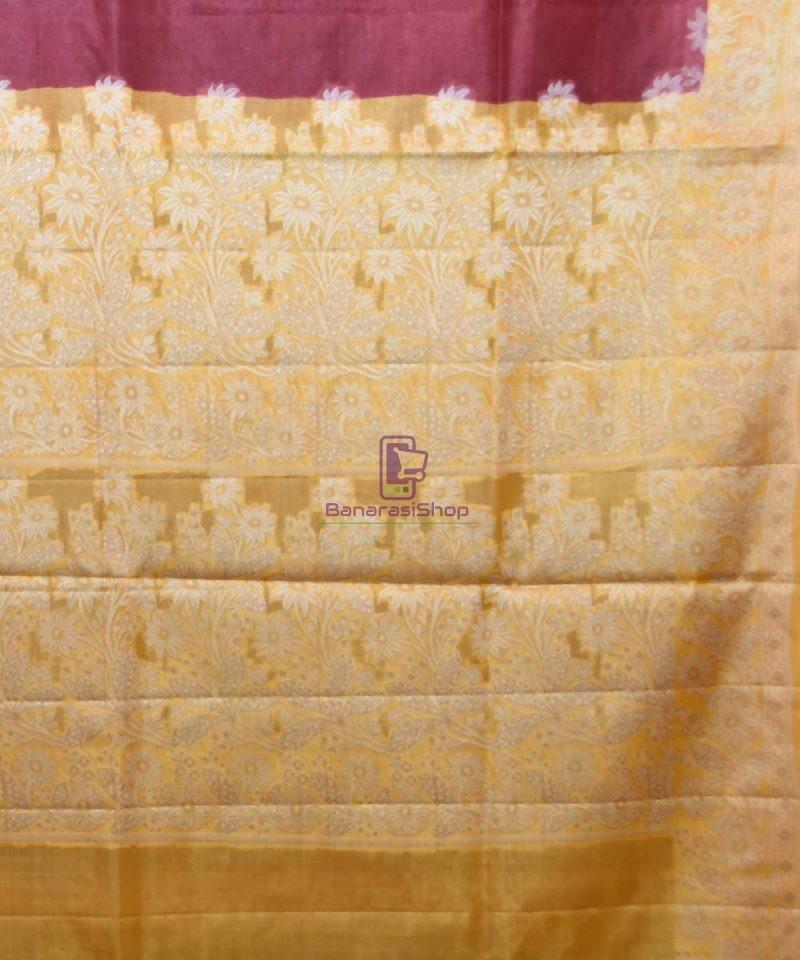 Woven Pure Tussar Silk Banarasi Saree in Plum Purple 3