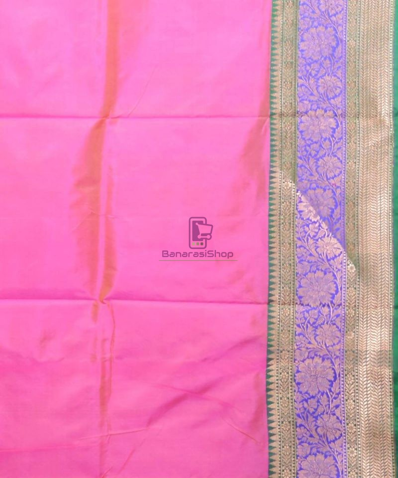 Banarasi Pure Katan Silk Handloom Pink Saree 4