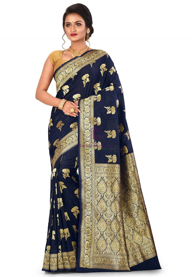 Banarasi Saree in Navy Blue 1