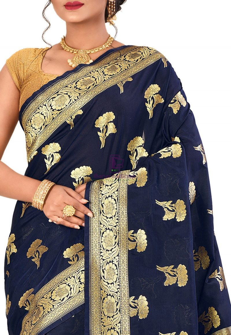 Banarasi Saree in Navy Blue 2