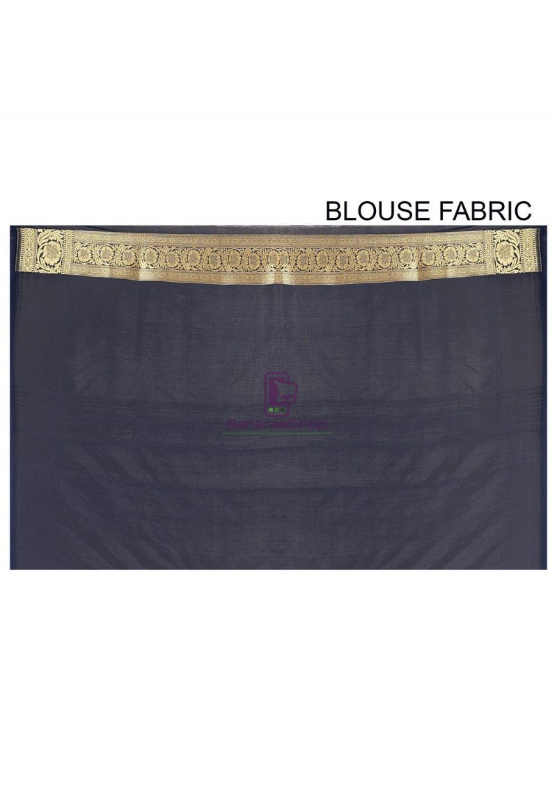 Banarasi Saree in Navy Blue 3