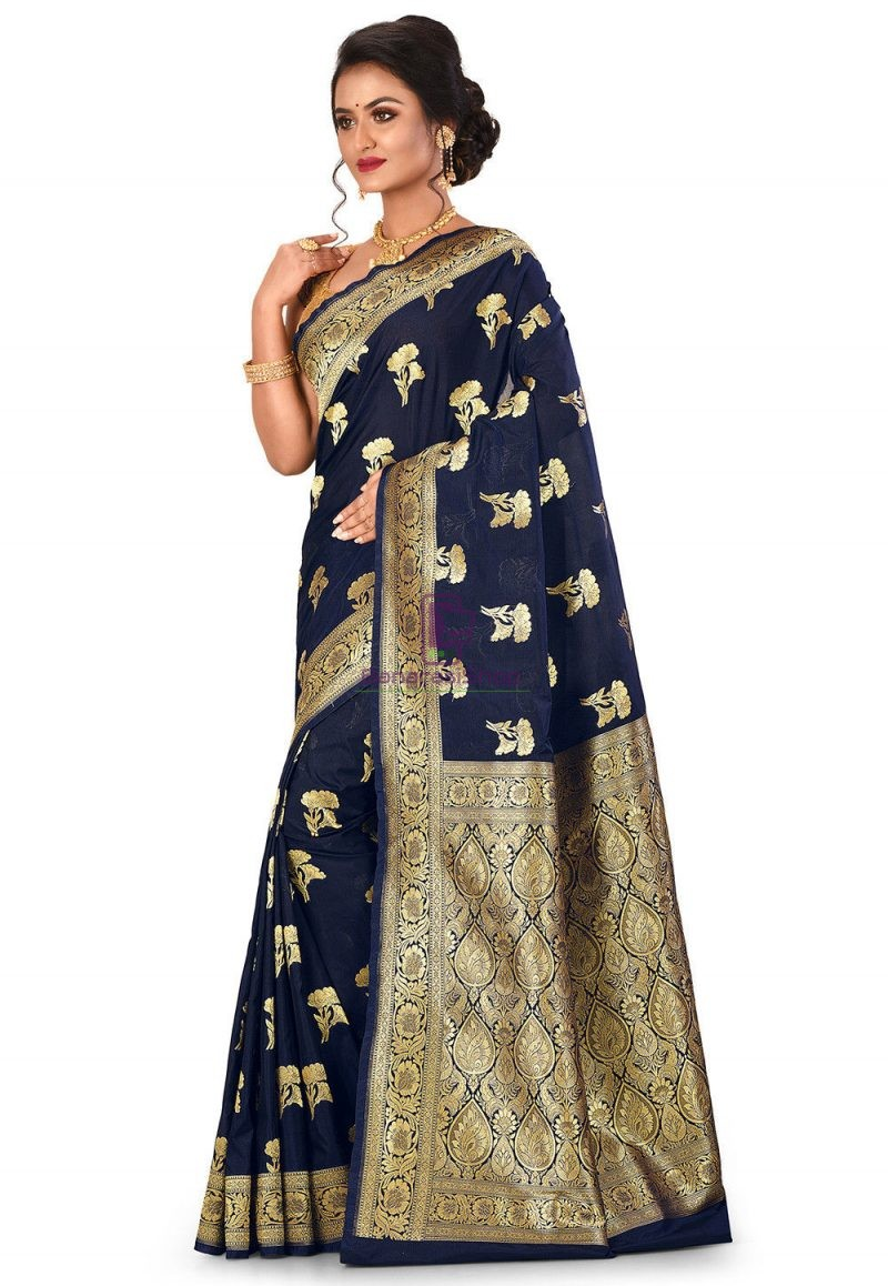 Banarasi Saree in Navy Blue 4