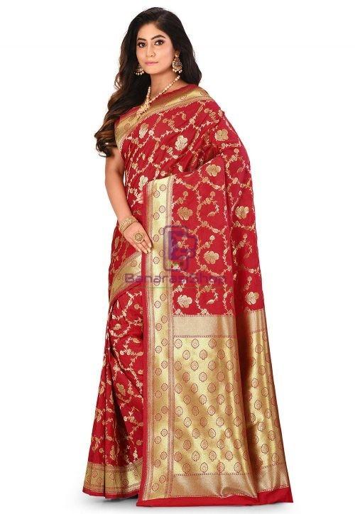 Banarasi Saree in Red 7