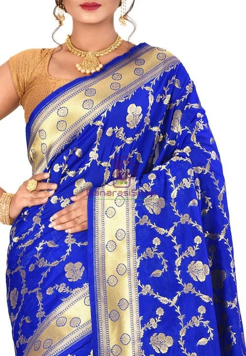 Banarasi Saree in Royal Blue 5