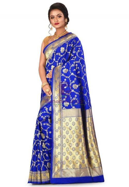 Banarasi Saree in Royal Blue 7