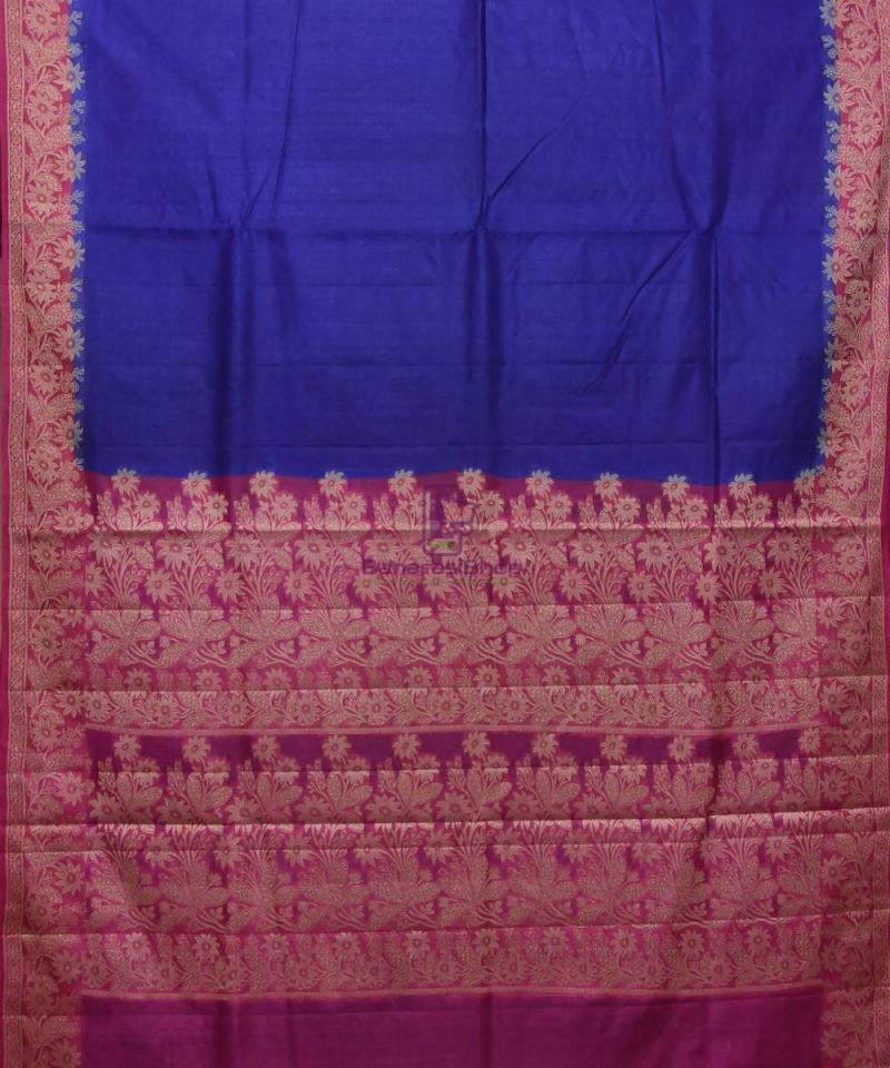 Woven Pure Tussar Silk Banarasi Saree in Royal Blue 1