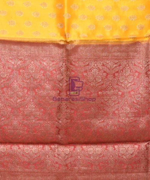 Pure Silk Banarasi Dupion Katan Handloom Saree in Merigold 6
