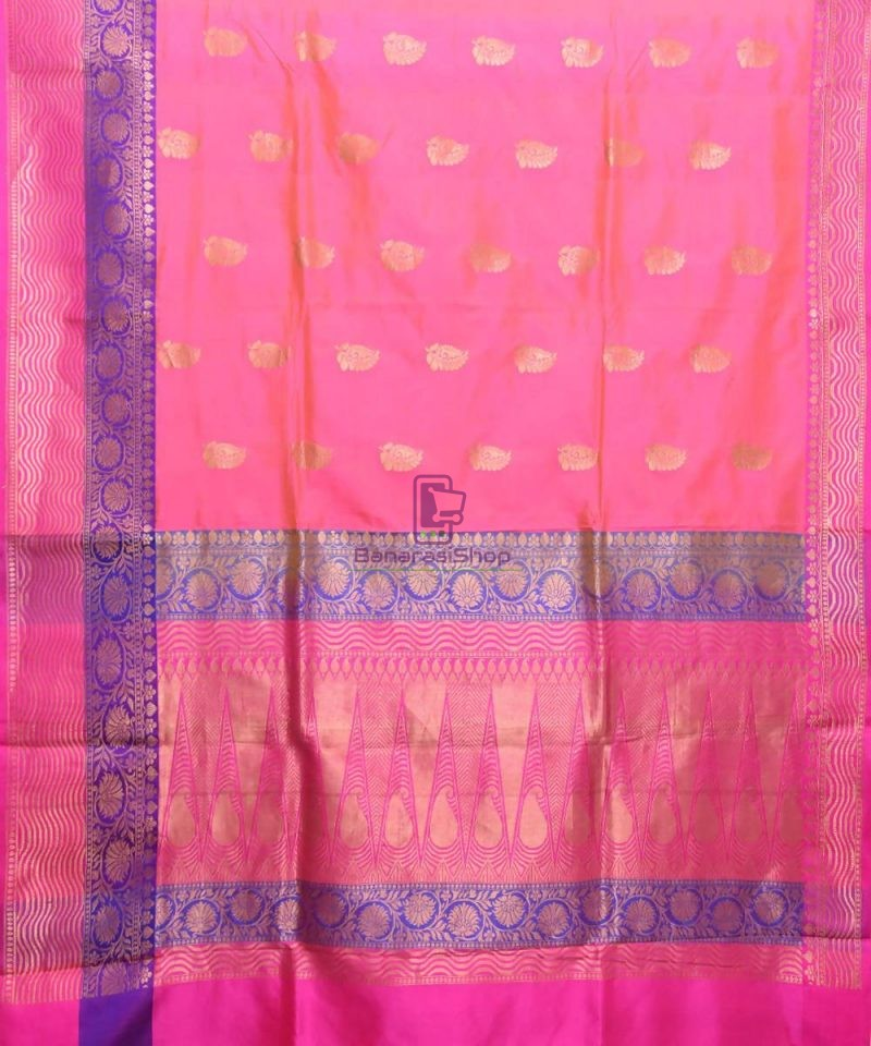 Banarasi Pure Katan Silk Handloom Bubblegum Pink Saree 1