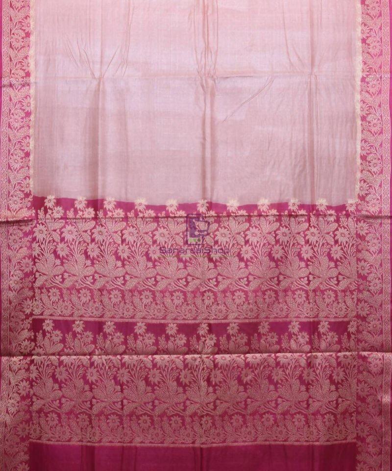 Woven Pure Tussar Silk Banarasi Saree in Rose Pink 1