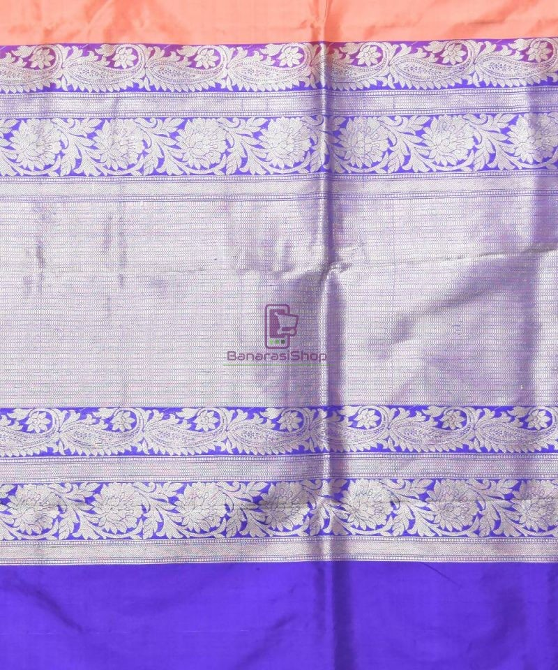 Banarasi Pure Katan Silk Handloom Peach Pink Saree 3