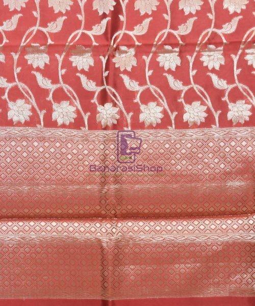 Pure Silk Banarasi Dupion Katan Handloom Saree in Rosewood 6