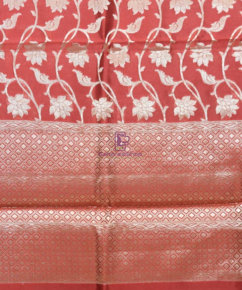 Pure Silk Banarasi Dupion Katan Handloom Saree in Rosewood 3