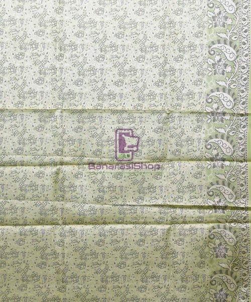 Woven Pure Tussar Silk Banarasi Saree in Pear Green 7