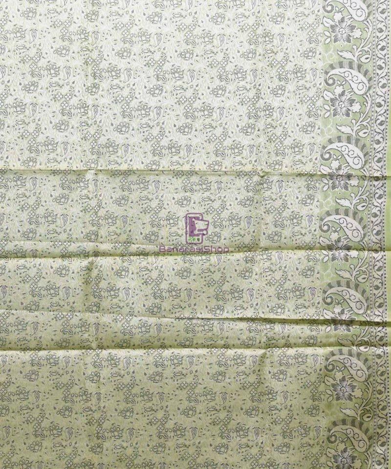 Woven Pure Tussar Silk Banarasi Saree in Pear Green 4