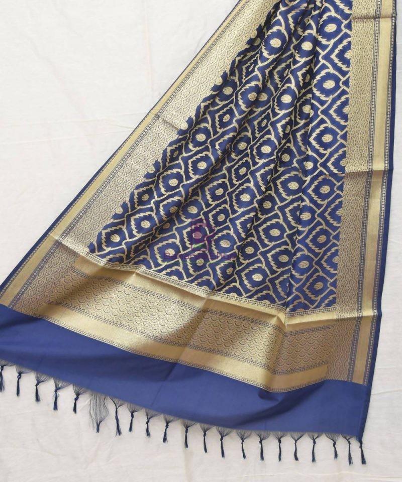 Woven Banarasi Art Silk Dupatta in Navy Blue 1