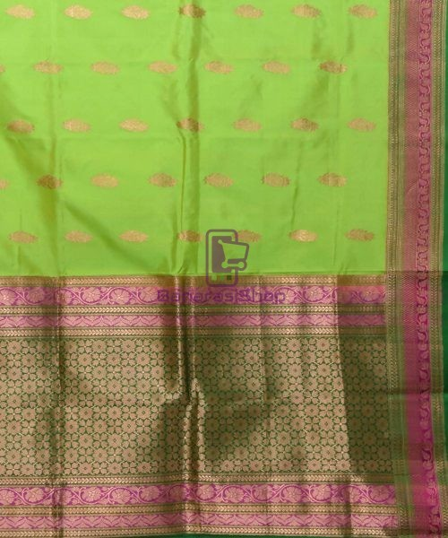 Banarasi Pure Katan Silk Handloom Lime Green Saree 5