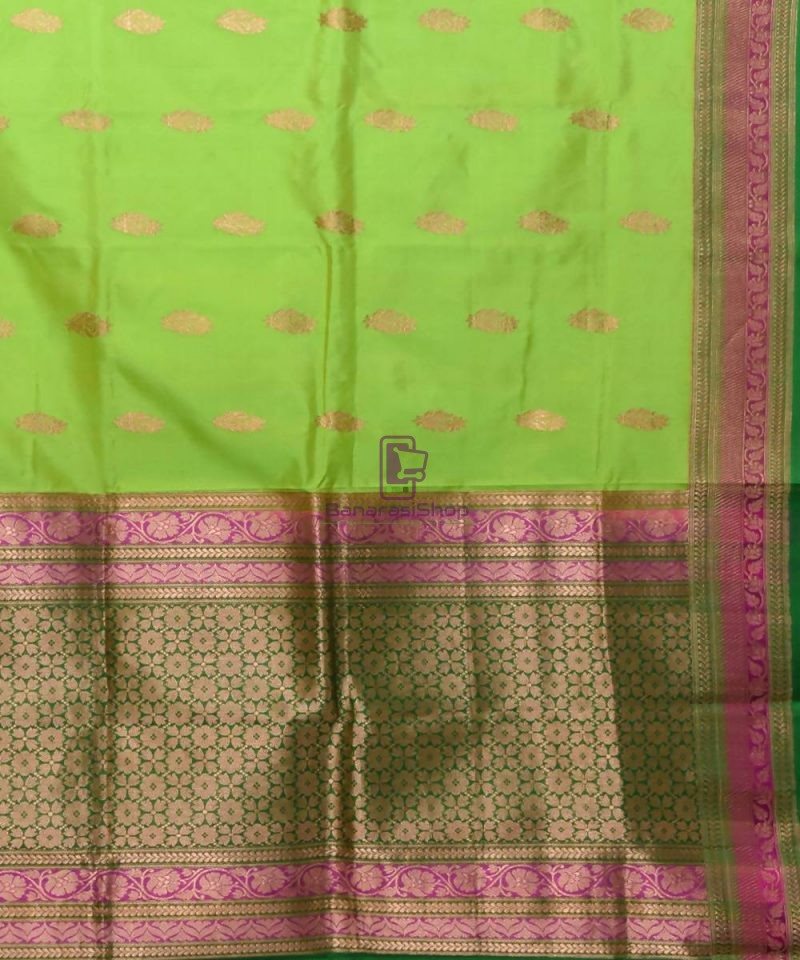 Banarasi Pure Katan Silk Handloom Lime Green Saree 2