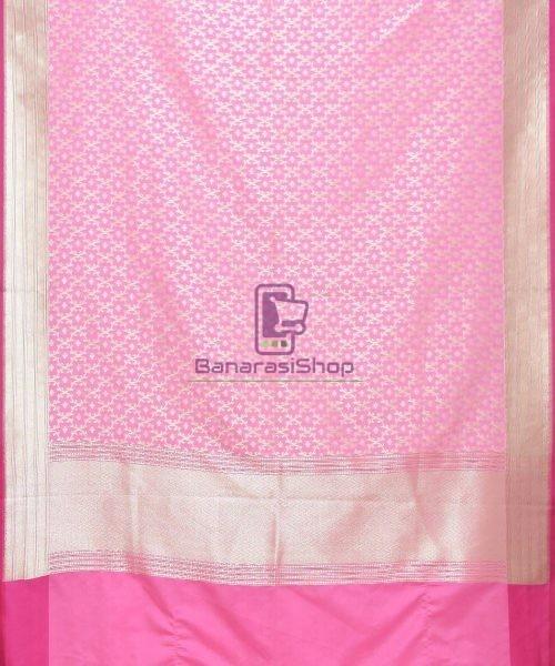 Woven Banarasi Art Silk Dupatta in Light Pink 3