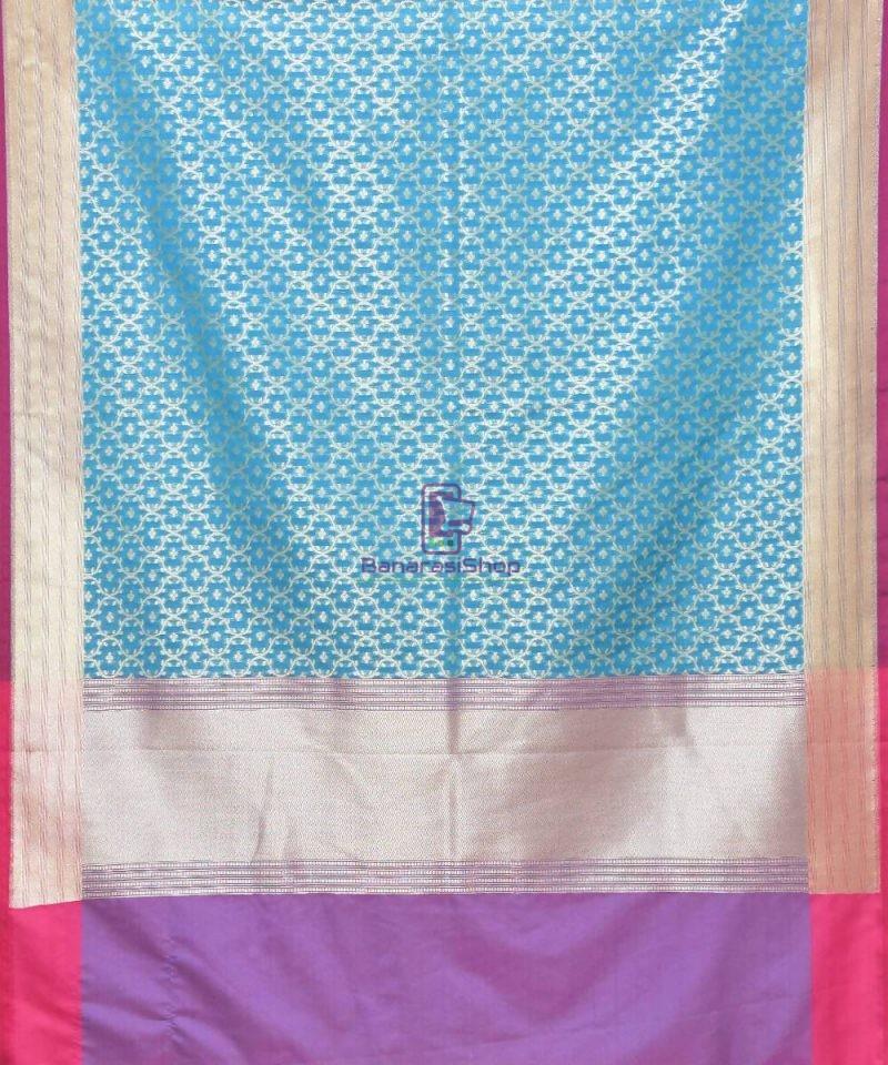 Woven Banarasi Art Silk Dupatta in Sky Blue 2
