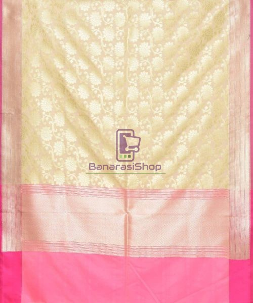 Woven Banarasi Art Silk Dupatta in Cream 3