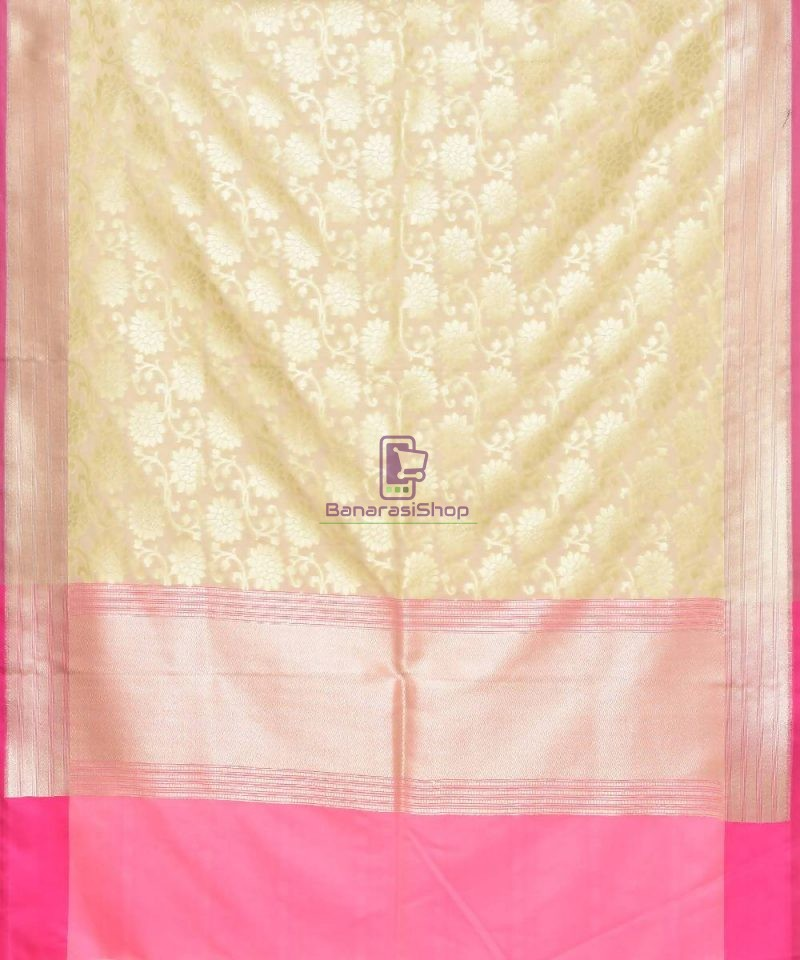 Woven Banarasi Art Silk Dupatta in Cream 2