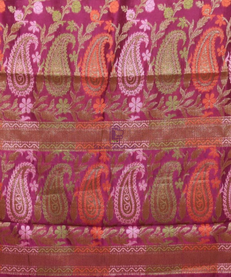 Pure Silk Banarasi Dupion Katan Handloom Saree in Wine Purple 3