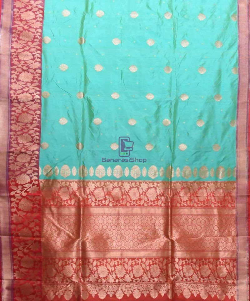Banarasi Pure Katan Silk Handloom Sky Blue Saree 1