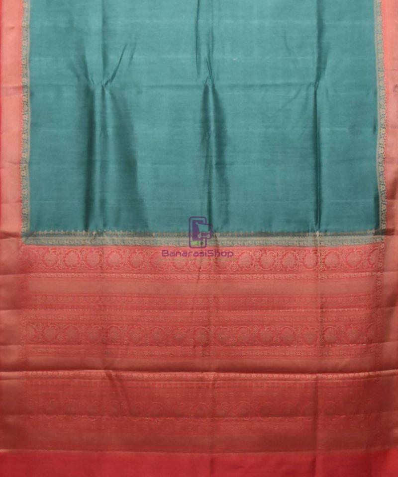 Woven Pure Muga Silk Banarasi Saree in Green 1