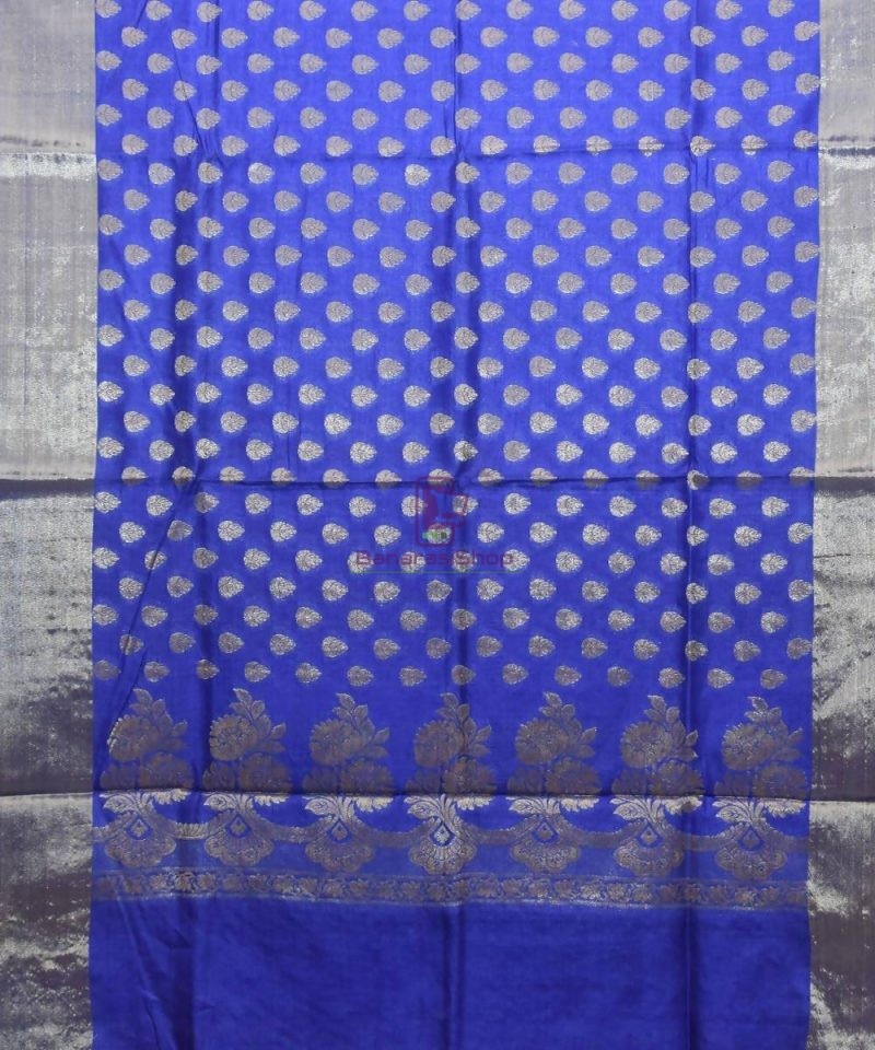 Woven Pure Tussar Silk Banarasi Saree in Azure Blue 1