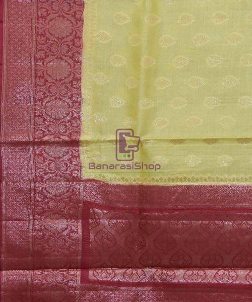 Woven Pure Tussar Silk Banarasi Saree in Olive Green 5