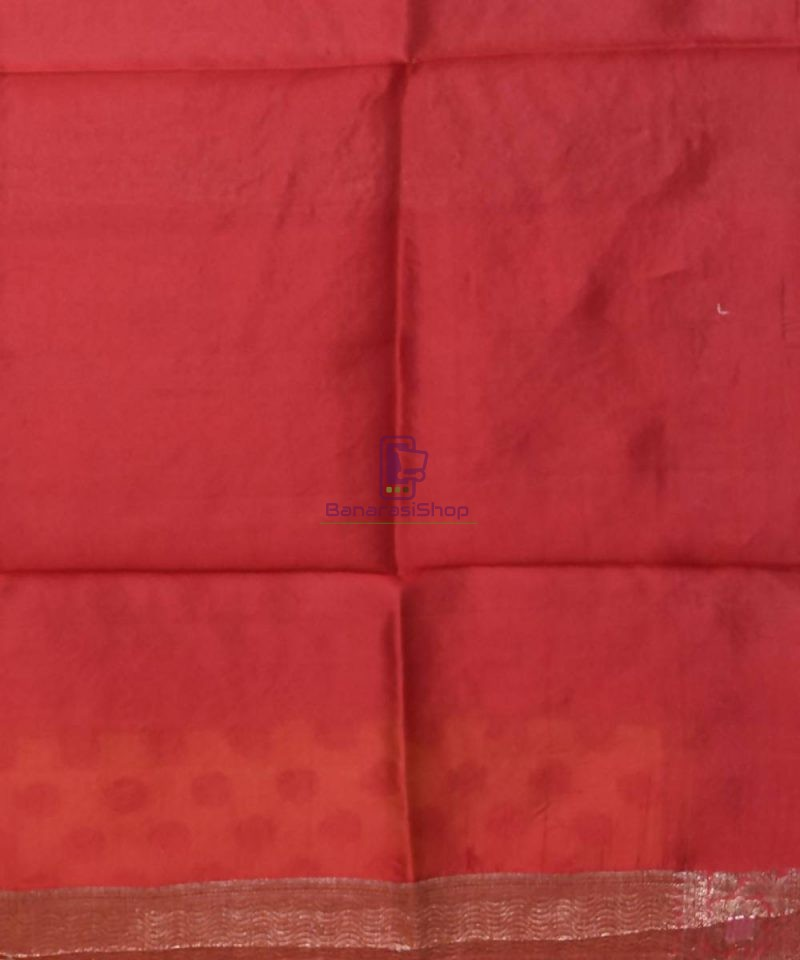 Pure Silk Banarasi Dupion Katan Handloom Saree in Merigold 4