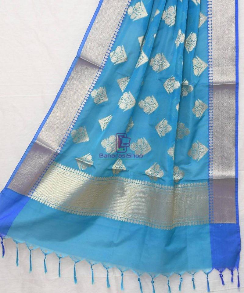 Woven Banarasi Art Silk Dupatta in Cerulean Blue 1