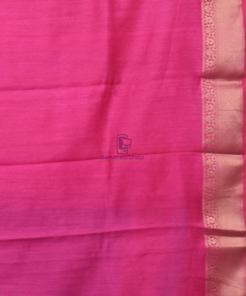 Woven Pure Muga Silk Banarasi Saree in Navy Blue 4