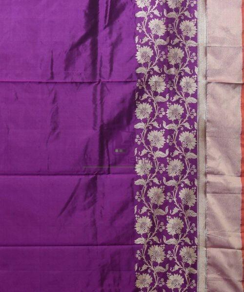 Banarasi Pure Katan Silk Handloom Purple Saree 7