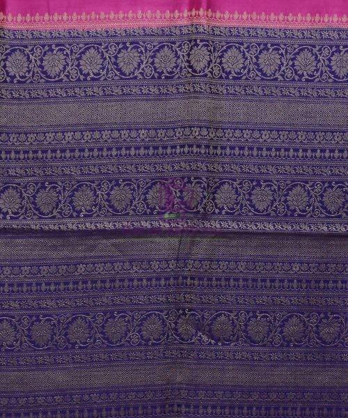Woven Pure Muga Silk Banarasi Saree in Magenta 6