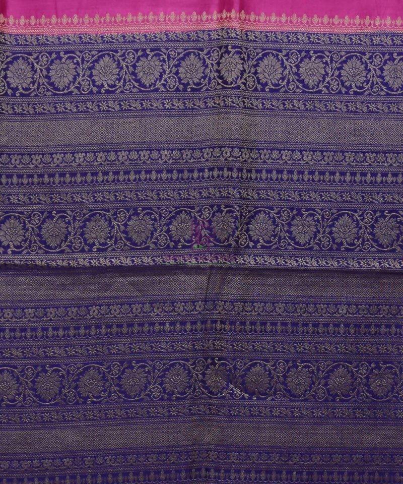 Woven Pure Muga Silk Banarasi Saree in Magenta 3