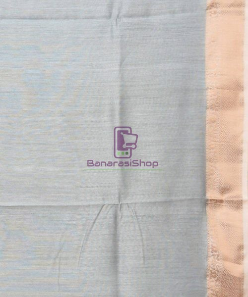 Woven Pure Muga Silk Banarasi Saree in Stone Blue 7