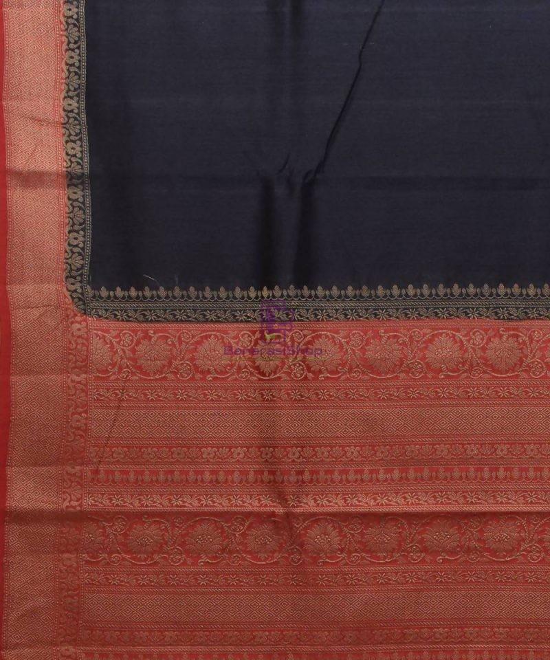 Woven Pure Muga Silk Banarasi Saree in Black 2