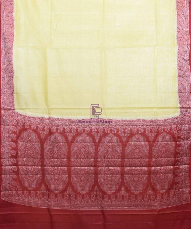 Woven Pure Tussar Silk Banarasi Saree in Cream 1