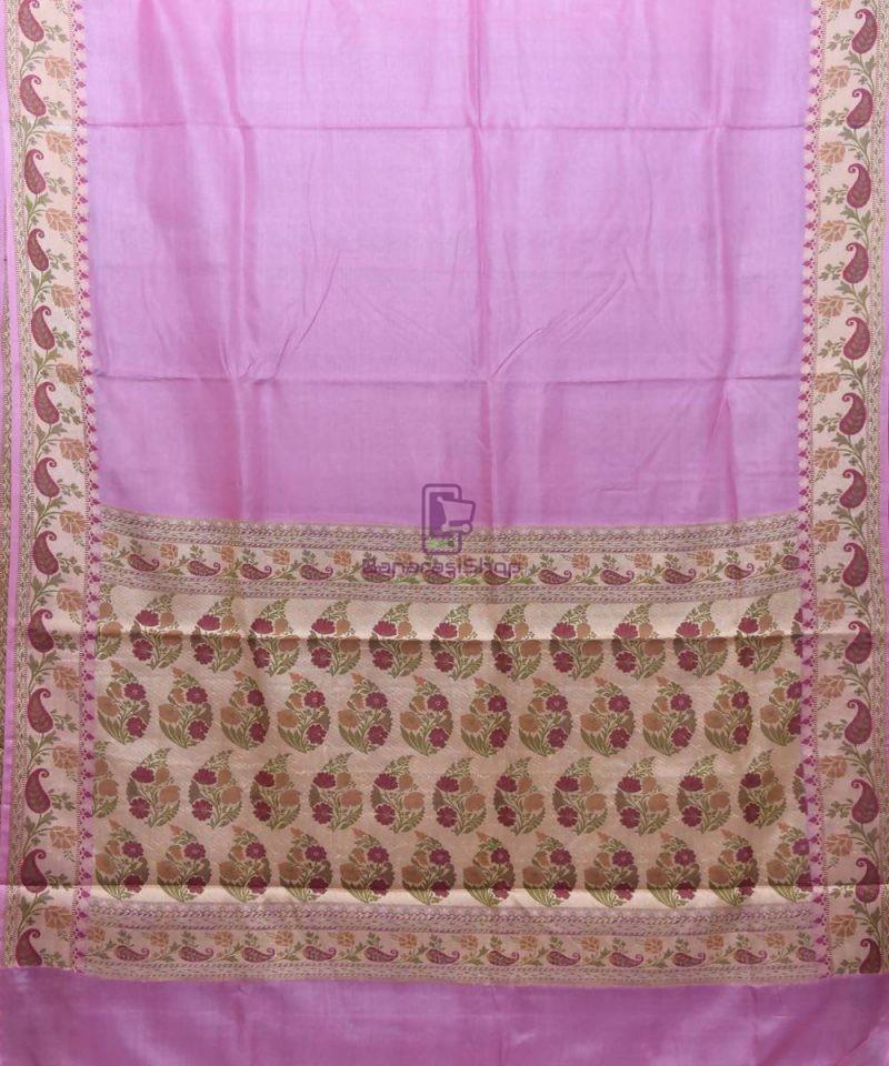 Woven Pure Tussar Silk Banarasi Saree in Lilac Purple 1