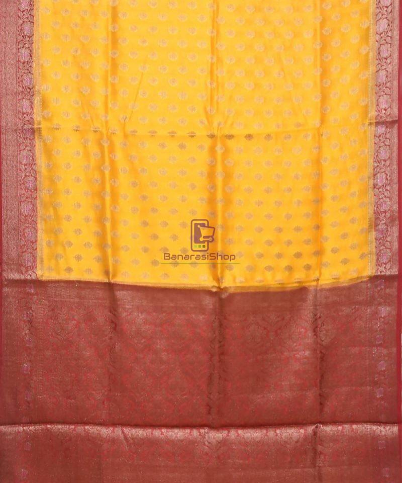 Pure Silk Banarasi Dupion Katan Handloom Saree in Merigold 1