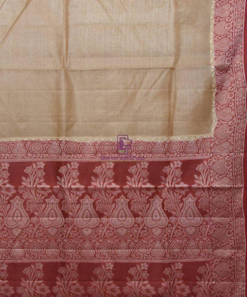 Woven Pure Tussar Silk Banarasi Saree in Cream 2
